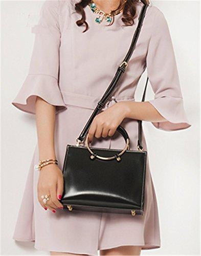 Xinmaoyuan Borse donna anello metallico Borsetta tracolla messenger bag Pu sezione trasversale quadrata,verde Nero