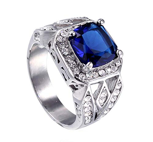 XBYBEI Herren Edelstahl hochglanzpoliert Antike Diamant Cubic Zirkonia Aquamarin Jahrestag Trauringe Silber Blau