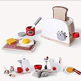 cocina de madera de simulación pretende housetoy madera cafetera tostadora alimentos mezclador de educación de la primera bebé del juguete educativo de cocina para la...