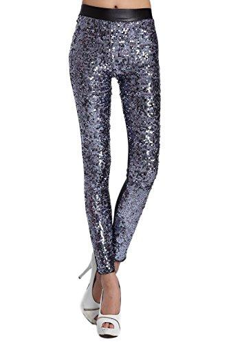 YACUN Femme PU Patchwork extensible Sequin Leggings de la étirement Synthétique Grey