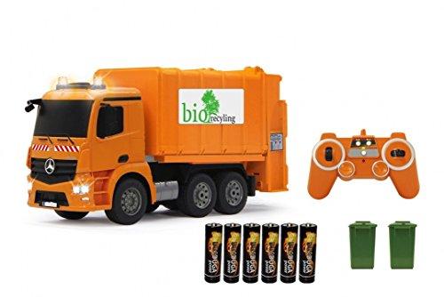 os LKW - Müllwagen ferngesteuert und per Knopfdruck den Mülleimer leeren , 2.4Ghz - Licht - Sound - komplett Set (Orange) (Dickie-spielzeug-müll-lkw)