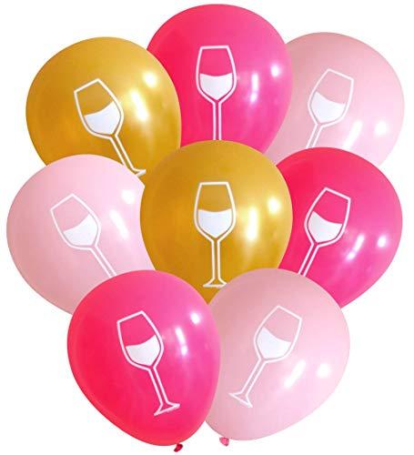Wein Glas Luftballons (16PCS) von nerdigen Worte Pinks & Gold (Tower Glas-set Eiffel)