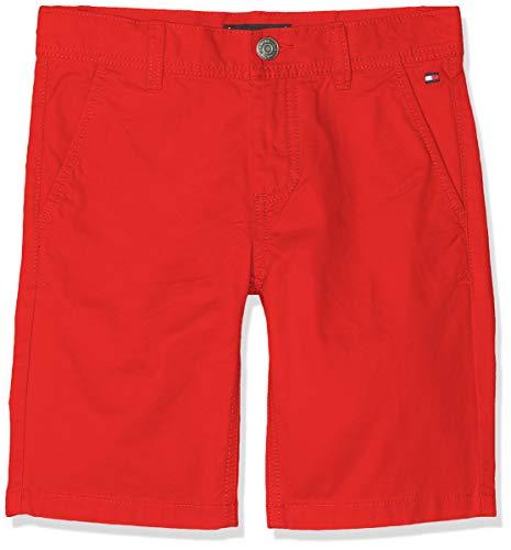 Tommy Hilfiger Jungen Essential Twill New Chino Shorts, Rot (Flame Scarlet 633), 176 (Herstellergröße: 16)