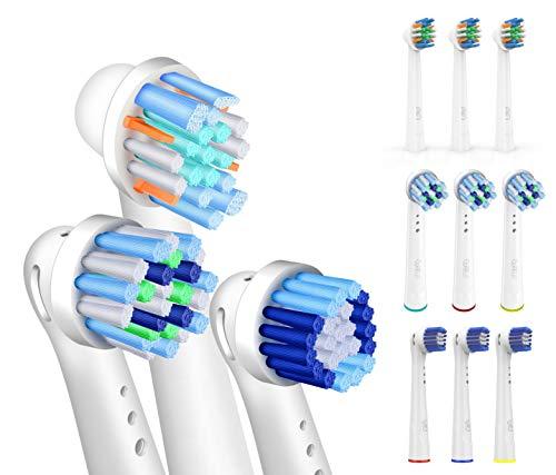 FLM 12 Stück Ersatzbürstenköpfe für elektrische Zahnbürsten, kompatibel mit Braun Oral B, Packung mit 4 Stück CrossAction + 4pzs Precision Clean + 4pzs FlossAction -