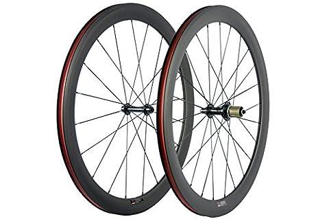 WINDBREAK BIKE 50mm Carbon Tubeless Wheelset 23mm Width 700c Clincher Wheel