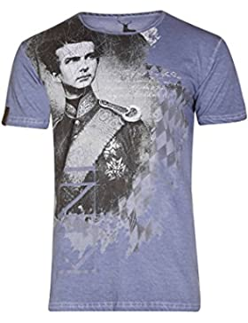 MarJo Herren Herren T-Shirt mit Ludwig II Blau, Blau,