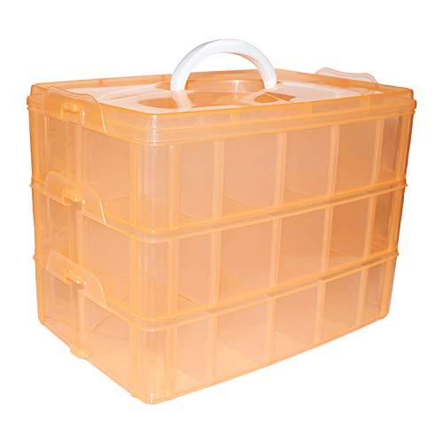 Aufbewahrungsbox mit 3 Ebenen orange- Stapelbare Box mit 30 verstellbaren Trennern Ordnungsbox Kiste - H18cm x B24 x D15cm - Organiser/ Ordnungssystem für Perlen, Bastelzubehör, Spielzeug Accessoires