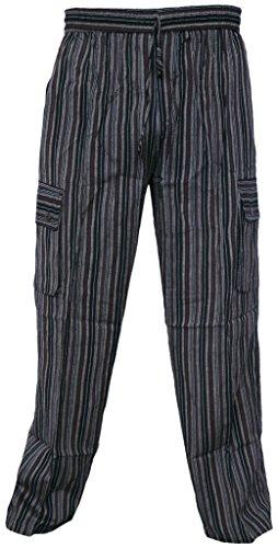 Little Kathmandu Herren Leichte Baumwoll Striped Lose Elastische Taillen Gerade Sommer Taschen Lässige Lounge Wear Trouser Hose Pant Brown XXX-Large (Brown-streifen-hose)