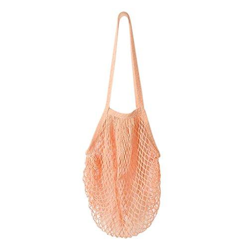 Damen Shopper Taschen FORH Frauen Einkaufstaschen Netze Tasche aus Baumwolle Tote Mesh Woven Net Umhängetasche für Sandspielzeug, Obst, Gemüse,Shopping Wiederverwendbar (Rosa)