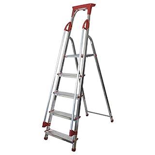 Abbey Aluminium Safety Platform Step Ladder With Handrail & Tool Tray 5 Tread