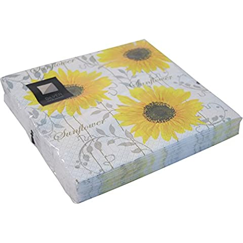 20 LUXURY 3 PLY YELLOW PATTERN SUNFLOWER PAPER NAPKINS- 33cm x 33cm Ideal for weddings, christenings, parties, bbq's etc FREE