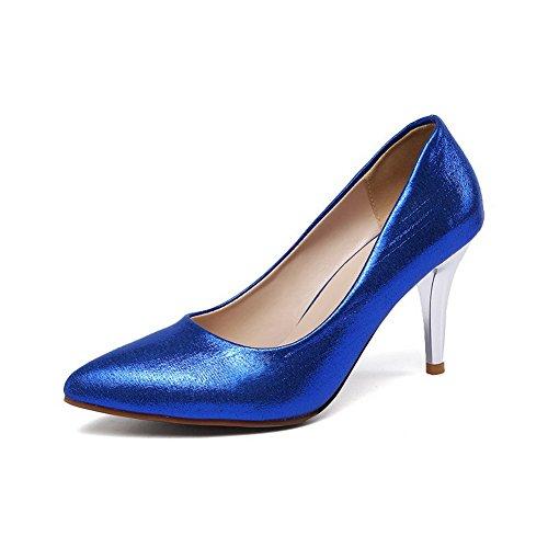 Allhqfashion Schuhe Rein Pumps Spitz Damen Zehe Pailletten Blau Auf Ziehen r0ra8Y