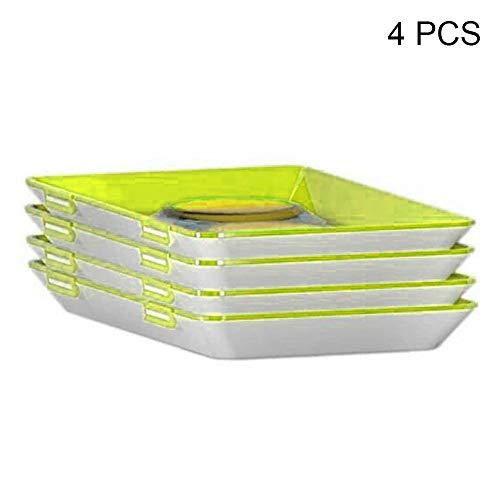 Starall Hochwertige Aufschnitt Stapelboxen 4er Set platzsparend stapelbar (Stapelboxen) / Vorratsdosen-Set für Aufschnitt mit integrierter Servierplatte (Green, 4pcs)