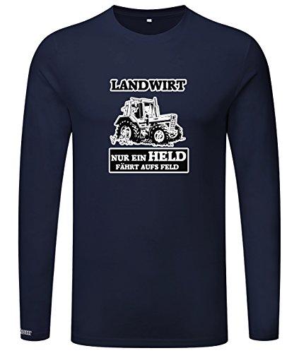 LANDWIRT - NUR EIN HELD FÄHRTS AUFS FELD - HERREN - LONGSLEEVE in Navy by Jayess Gr. S (Langarm-shirt-feld)