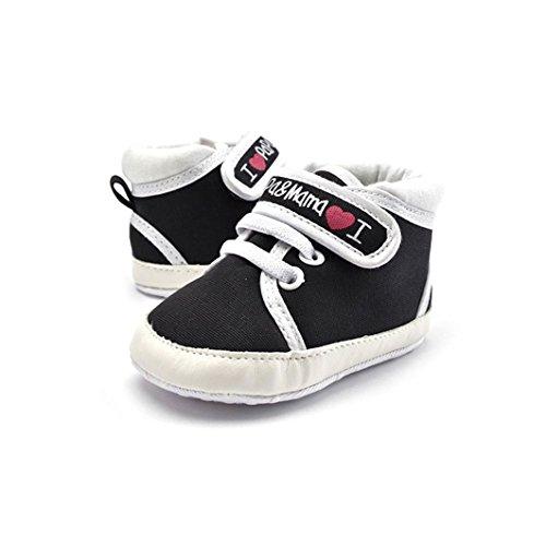 Dearmy Kleinkind Neugeborenes Baby Säugling Anti-Rutsch Gehen Sneaker Krippe Schuhe, 0-18 Monate 1 Paar Junge Mädchen Weich Soled Segeltuch Schuhe, 3 Farbe Wählen (Schwarz, 13cm 12-18 Monate)