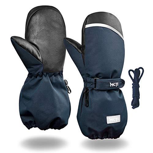 Kineed Fäustlinge Kinderhandschuhe Wasserdicht Handschuhe Kleinkind Snowboard Skihandschuhe 1-15 Jahre Kleinkinder Jungen Mädchen, Blau, S (Herstellergröße: 8) -