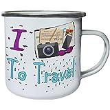 Nuevo I Love Travel Bucket List Retro, lata, taza del esmalte 10oz/280ml l713e