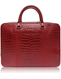 LA ROMA CROCO PRINTED GENUINE LEATHER LAPTOP BAG