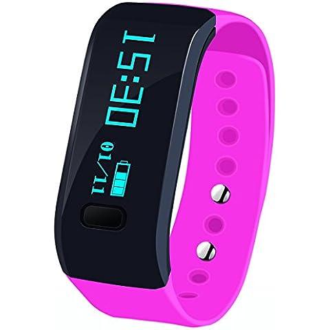 Megadream® Sport staccabile Bluetooth 4.0intelligente Wristband Band braccialetto Smart Watch chiamare promemoria sonno Monitor della salute fitness tracker Activity Pedometro fascia per telefono Android, iOS, 3colori disponibili