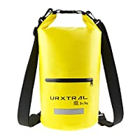 URXTRAL Dry Bag, Waterproof Bags, Gear Bag Roll Top Dry Compression Sack 10 Liter Floating for Boating, Kayaking, Fishing, Rafting, Swimming, Camping and Snowboarding with Zip Pocket, Double Long Adjustable Shoulder Strap