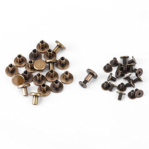 20 Flat Head Rivets, Brass Copper Screws, Antioxidant Nuts, Skin Rivets, Accessory Kit for DIY or Repairs, 8 mm
