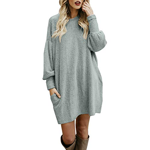 WWricotta Fashion Women Solid O-Neck Pocket Long Sweater Long Sleeve Casual Loose Pullover - Solid Boardshort