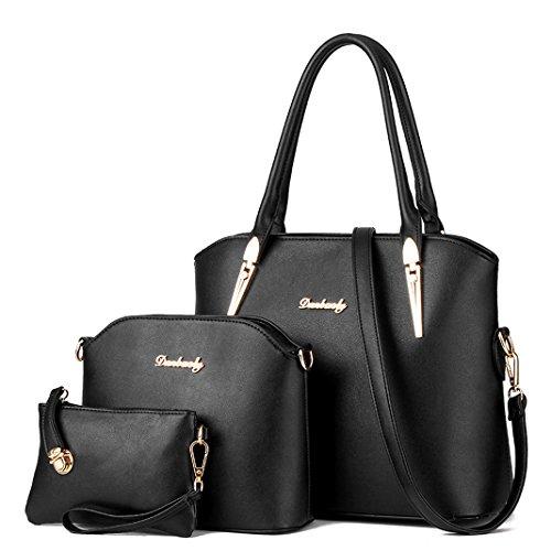 Tibes Pu Leder Top-Griff Tasche Frauen Schultertasche 3 Stück Set Handtasche Schwarz