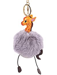 Bfeplfashion Fluffy Faux Fur Round Ball Pom Pom Giraffe Style Lady Bag Charm Key Chain