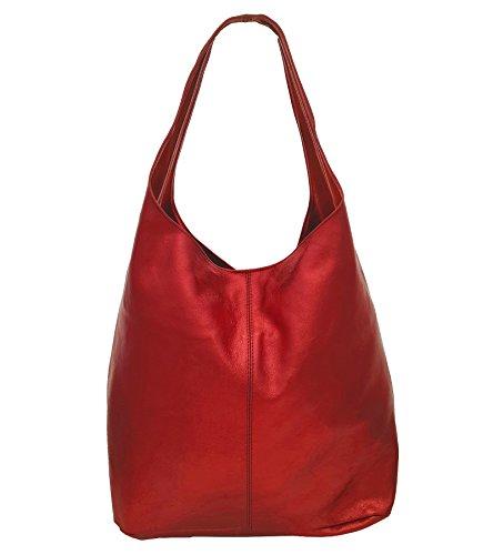Freyday Damen Ledertasche Shopper Wildleder Handtasche Schultertasche Beuteltasche Metallic look (Rot Metallic) -
