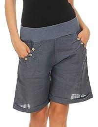 Malito Damen Bermuda aus Leinen   Shorts für den Strand   lässige Kurze Hose    Pants d2019eee5b