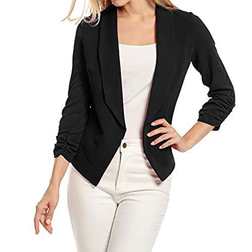 VECDY Damen Jacken,Räumungsverkauf-Frauen 3/4 Ärmel Blazer offen Kurzer Cardigan vorne Anzug Jacke Arbeit Büro Mantel Lässige warme Jacke