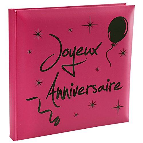 Santex 4805-15 Livre d'Or Imprimé Joyeux Anniversaire Fuchsia 24,3 x 24,9 x 2,3 cm