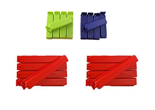 clip2friend Set Nr. 4 | 20 Tüten-Clips/Beutel-Clips/Gefrierbeutel-Verschluss-Clips/Aromaclips/Verschlussklemmen in den Farben rot (11 cm Länge), blau und grün (6 cm Länge) Test