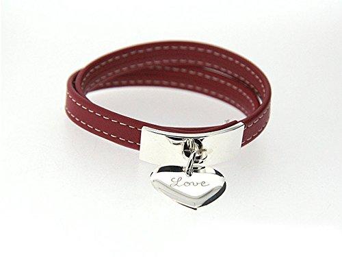 Armband Leder Weinset, Platte und Anhänger Silber massiv rot 37cm (Handgelenk Normal) nicht C? Ur bombiert