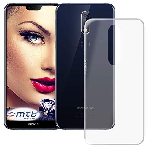 mtb more energy® Schutz-Hülle Clear und Slim für Nokia 7.1 Dual SIM (5.84'') | transparent | flexibel | TPU Silikon Case Cover Tasche