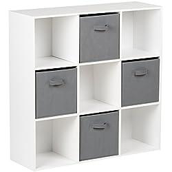 Hartleys Unité De Rangement Blanc A 9 Cubes & 4 Bacs De Rangement Gris