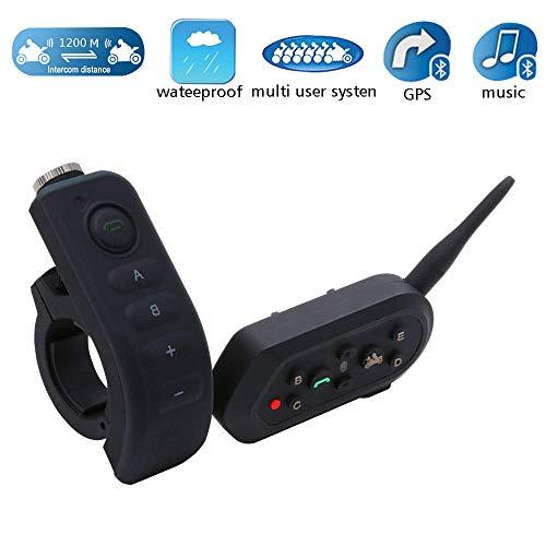 Casco Bluetooth Walkie-Talkie, 1200 Am IP65 Impermeabile Cuffie Multicitofono Bluetooth Per Casco Moto Con Maniglia/Telecomando (Nero),Black,1Pack