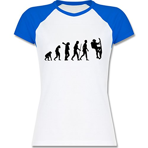 Shirtracer Evolution - Klettern Evolution - Zweifarbiges Baseballshirt/Raglan T-Shirt für Damen Weiß/Royalblau