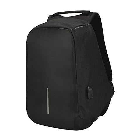 Moolecole Business Laptop Rucksack mit USB Charge Port Leichte Outdoor wasserdichte Travel College Rucksack Schwarz