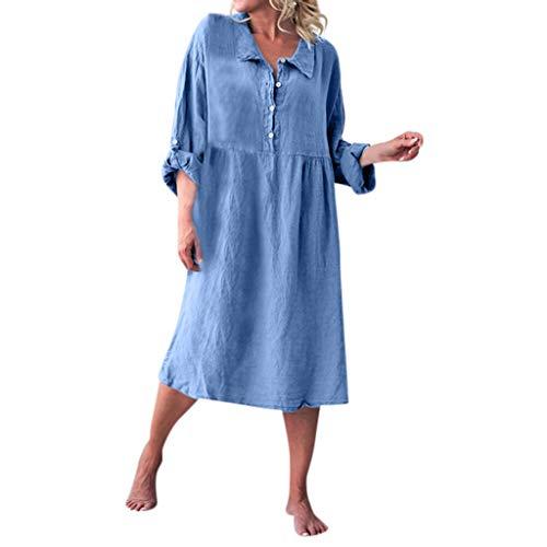 Overdose Damen Freizeit Kleider Leinenkleider 1/2 Ärmel Rundhals Einfarbig Casual Urlaub Sommerkleider Strandkleid Midi Dress Frauen kostüme übergröße (EU 44/CN 2XL, X-z-blau) Audrey Mantel