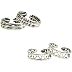 Frabjous Pretty Pair of 2 Plain Adjustable German Silver Toe Ring For Women