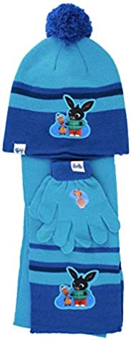 Characters Cartoons Bing Bunny - Bambina Bambino - Set Invernale 3pz Cappello Guanti e Sciarpa o Scaldacollo