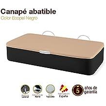 Canapé Abatible Tapizado Apertura Lateral Tapa 3D Ecopel Negro 80x190cm Envio y montaje gratis