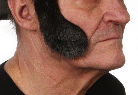 Mustaches Selbstklebende Neuheit Fälscher Koteletten für Erwachsene Schwarz Glänzend Farbe