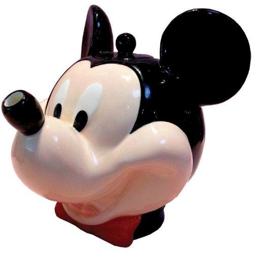 Mickey Mouse con lazo rojo corbata y tetera sonriente