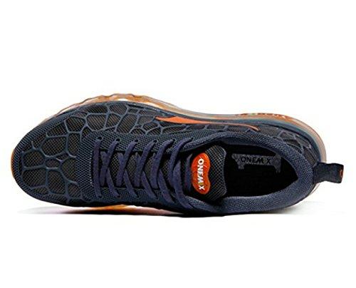 Onemix Herren Air Laufschuhe Sportschuhe mit Luftpolster Turnschuhe Leichte Schuhe See blau / orange