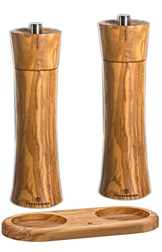 Zassenhaus Olive Pepper and Salt Mill Set 7.5-inch with Stand by Zassenhaus Germany Olde Thompson Pepper Grinder