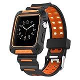 Apple Watch Uhrenarmband 38mm,Soft Silikon Sport Armband Replacement Wrist Band Strap Schmuck Armband Armreif für Apple Watch Series 1 2 3 Sport Nike+ Edition (Schwarz & Orange)