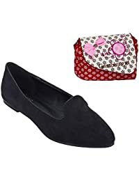 Etashee Suede Leather Pointed Toe Comfortable Black Ballet Flats With Red Printed Sling Bag For Women