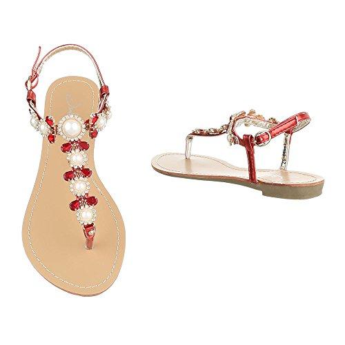 Zehentrenner Damenschuhe Peep-Toe Blockabsatz Zehentrenner Schnalle Ital-Design Sandalen / Sandaletten Rot